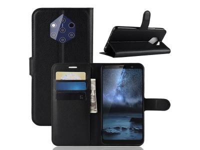 Калъф Тефтер Litchi Skin за Nokia 9 PureView, Черен