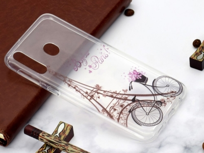 Силиконов Гръб за Xiaomi Redmi 7 / Redmi Y3, Айфеловата кула и велосипед