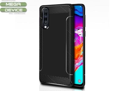 Силиконов гръб Carbon Fibre за Samsung Galaxy A70, Черен