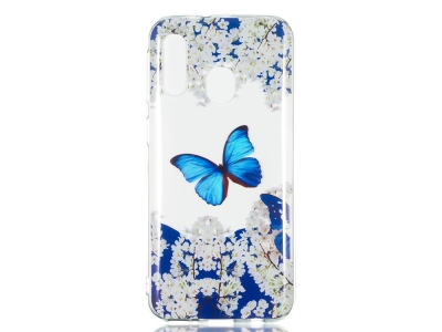Силиконов Гръб за Samsung Galaxy A40, Пеперуда и Цветя