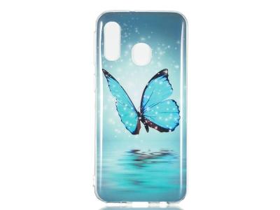 Силиконов Фосфорисцентен гръб за Samsung Galaxy A40, Синя пеперуда