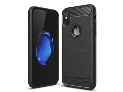 Силиконов гръб Carbon Fibre за iPhone X / XS , Черен
