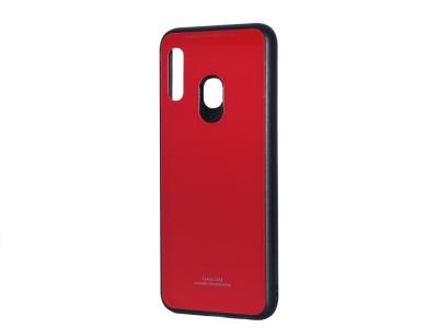 Стъклен гръб със силиконова лайстна Glass за Samsung Galaxy A20E, Червен