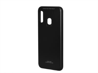 Стъклен гръб със силиконова лайстна Glass за Samsung Galaxy A20E, Черен