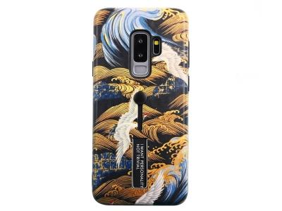 Удароустойчив гръб с Постовка за Samsung Galaxy S9+ SM-G965, Златна вълна