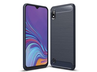 Силиконов гръб Carbon за Samsung Galaxy A10, Тъмно син