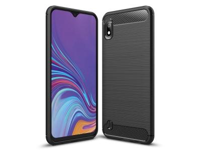 Силиконов гръб Carbon Fibre Brushed за Samsung Galaxy A10, Черен