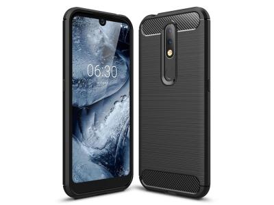 Силиконов гръб Carbon за Nokia 4.2, Черен