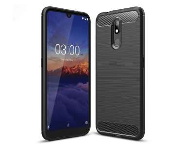 Силиконов гръб Carbon за Nokia 3.2, Черен