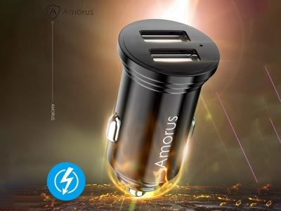 Зарядно за кола AMORUS 12v Dual USB 3.4A , Черен