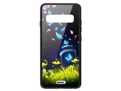 Пластмасов Гръб Glass Boter за Samsung Galaxy S10 , Сини пеперуди