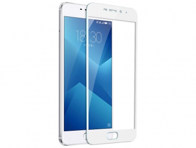 Стъклен протектор 3D Full за Meizu M5 Note, Бял