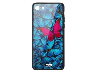Пластмасов Гръб Glass Boter за iPhone 7 / iPhone 8, Розова пеперуда
