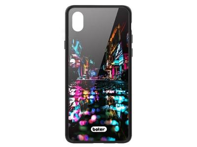 Пластмасов Гръб Glass Boter за iPhone  XR (6.1), Нощен град