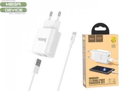 Зарядно 220v HOCO C62A 2xUSB 2,1A Micro-USB, Бял