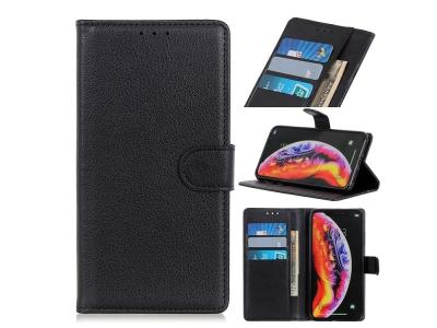 Калъф тефтер Litchi за Samsung Galaxy A10, Черен