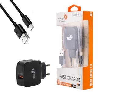 Зарядно устройство Tel1 220v Quick Charge 3.0 1xUSB 3A + Type C кабел, Черен