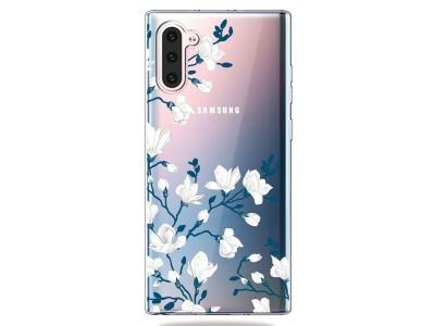 Силиконов Гръб - Samsung Galaxy Note 10 - White Flowers