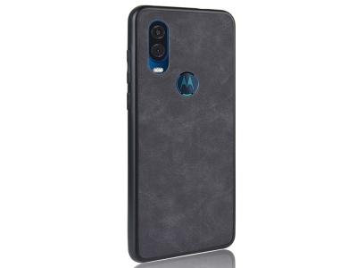 Силиконов Гръб Leather Coated за Motorola One Vision/Motorola P40, Черен