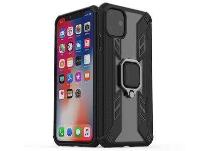 Удароустойчив гръб с пръстен Warrior за iPhone 11, Черен