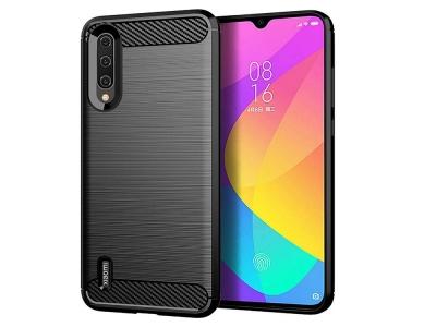 Силиконов гръб Carbon за Xiaomi Mi A3, Черен