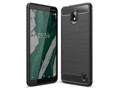 Силиконов гръб Carbon за Nokia 1 Plus, Черен