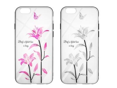 Стъклен Гръб Glass Magic за iPhone 6 / 6s , Лилиум и Пеперуда