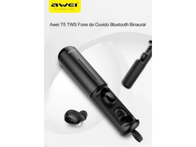 Безжични Слушалки Awei T5 TWS Bluethooth 5.0, Черен