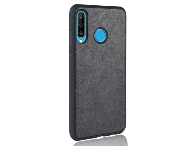 Силиконов Гръб Leather за Huawei P30 Lite / nova 4e , Черен