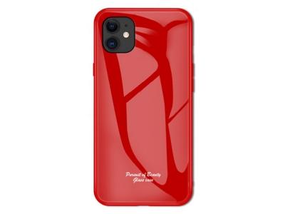 Калъф Гръб Glass Macaroon -  iPhone 11 6.1 inch - Red