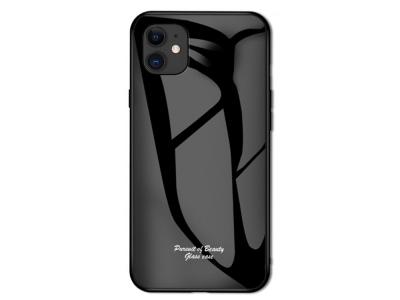 Стъклен Гръб Glass Macaroon за iPhone 11 (6.1), Черен