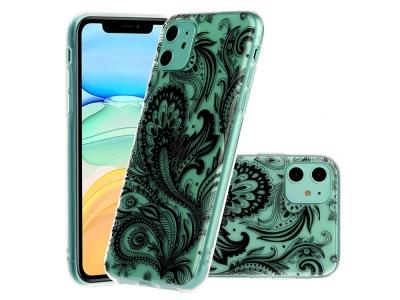 Силиконов Гръб Embossed -  iPhone 11 6.1 inch - Black Flower