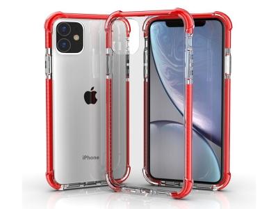 Удароустойчив Гръб Drop-resistan за iPhone 11 (6.1),Прозрачен с Червена лайстна