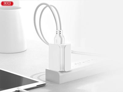 Зарядно 220V XO - 2.1A 2x USB с кабел Lightning L35D, Бял