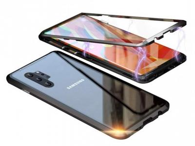 360 Алуминиев магнитен бъмпер за Samsung Galaxy Note 10 Plus, Черен
