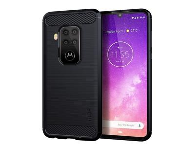 Силиконов гръб Carbon за Motorola Moto One Zoom, Тъмно син