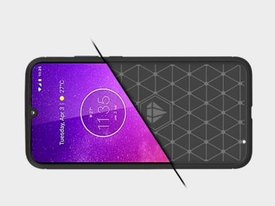 Силиконов гръб Carbon за Motorola Moto One Zoom, Черен