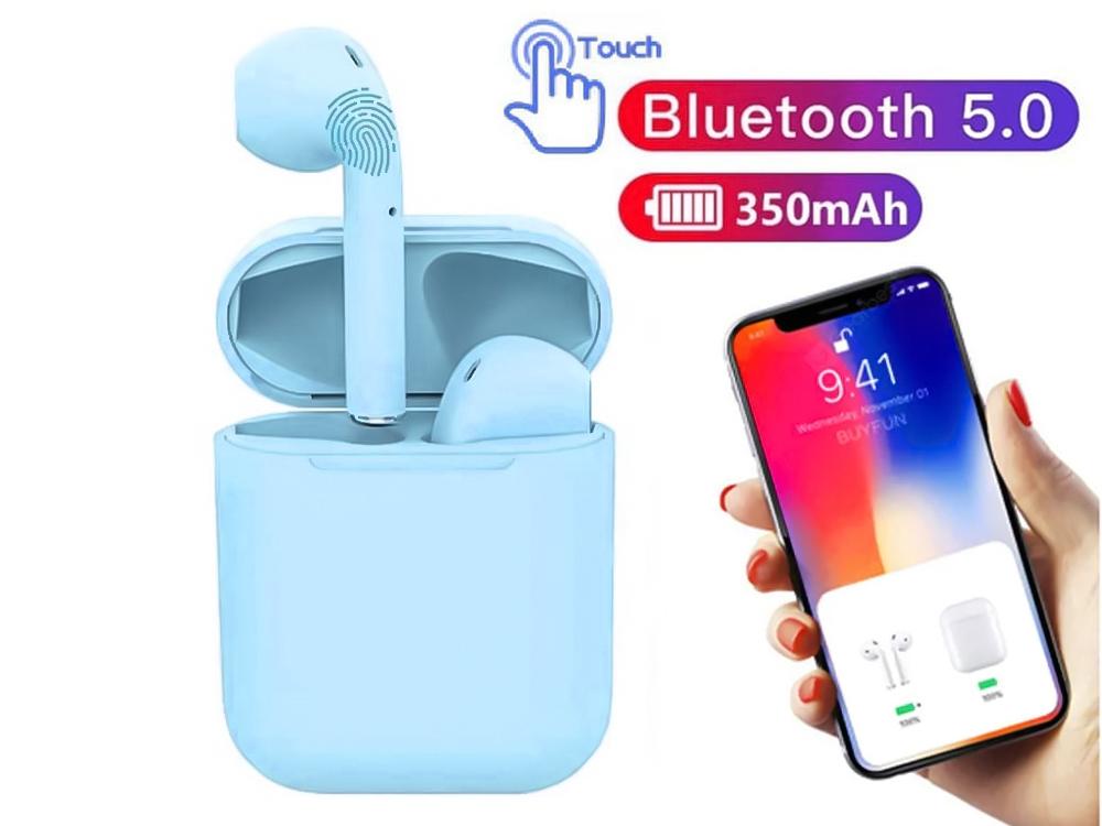 Слушалки TWS Macaron Bluetooth 5.0 Pop Up Toch Charging Box, Син
