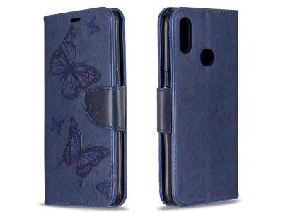 Калъф Тефтер за Samsung Galaxy A10s, Син с пеперуди