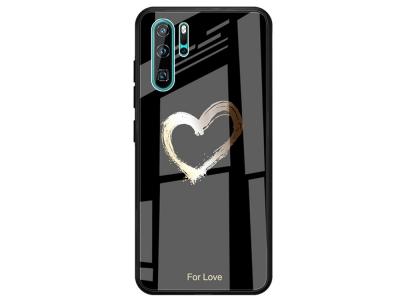 Калъф Гръб Glass - Huawei P30 Pro - Black Polygon and Heart