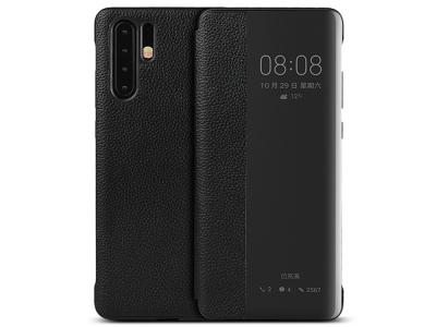 Калъф тефтер View Cover (ест. кожа) за Huawei P30 Pr, Черен