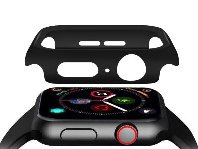 Пластмасов бъмпер + стъклен протектор за Apple Watch Series 5/4 44mm , Черен