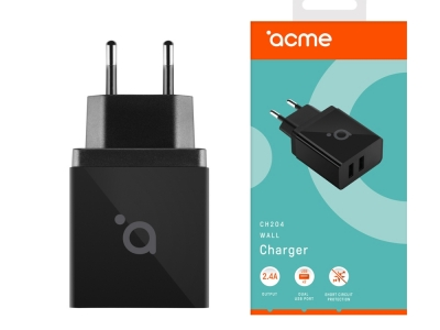 Мрежово зарядно 220V ACME CH204 с 2 x USB 2.4A, Черен
