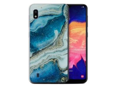 Силиконов Гръб Marble за Samsung Galaxy A10, Син / Златист