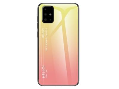 Стъклен гръб Glass за Samsung Galaxy A51 , Жълт /Розов