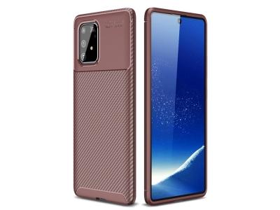Силиконов Калъф Beetle Series Carbon Fiber - Samsung Galaxy A91/S10 Lite - Brown