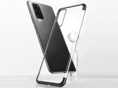 Силиконов калъф  с лайсна - CLEAR Samsung Galaxy S20 Plus Black
