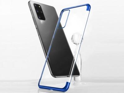 Силиконов гръб с лайсна CLEAR за Samsung Galaxy S20 Plus, Син