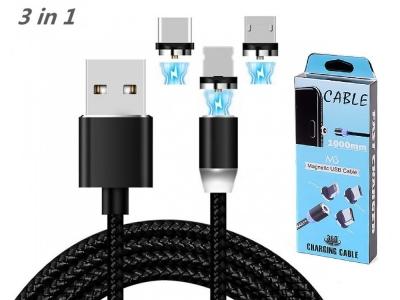 Магнитен кабел 3in1 ( Micro USB + iPhone + Type C)
