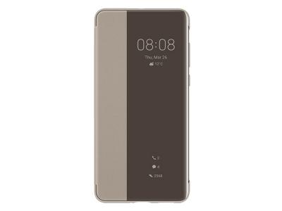 Оригинален калъф тефтер за Huawei P40 Smart View Flip Cover, Златисто Кафяв